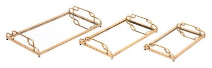Mirrored Trays Gold (Set of 3)