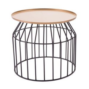Tray End Table Small Gold/Black