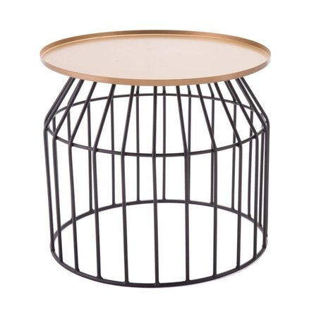 Tray End Table Large Gold/Black