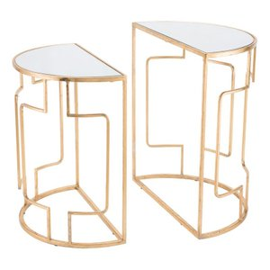Roma End Tables Gold/White (Set of 2)