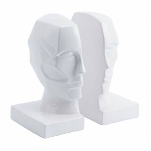 Face Bookends White (Set of 2)