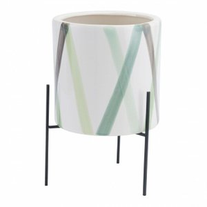 Litoral Large Planter Green & White