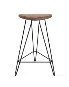 "Madison Counter Stool 26"" H Walnut And Black"