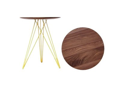 Hudson Side Table Walnut And Yellow