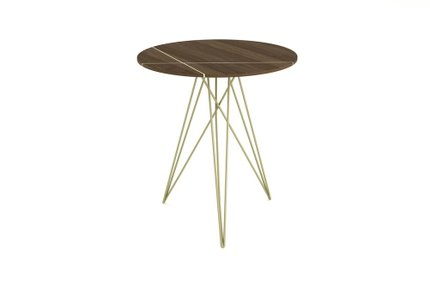 Hudson Side Table With Inlay Walnut And Brassy Gold