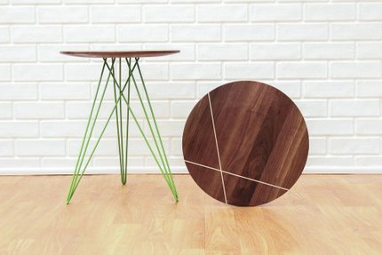 Hudson Side Table With Inlay Maple And Green
