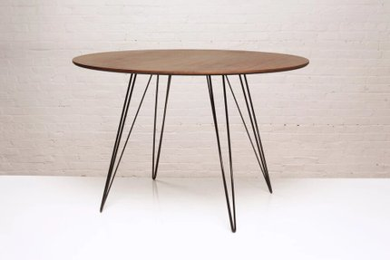 Williams Dining Table Round Large Walnut And Black