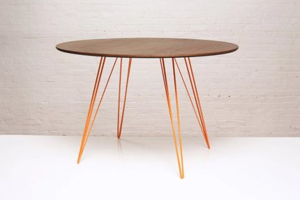 Williams Dining Table Round Large Walnut And Orange