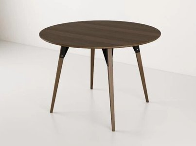 Clarke Dining Table Large Round Walnut And Black