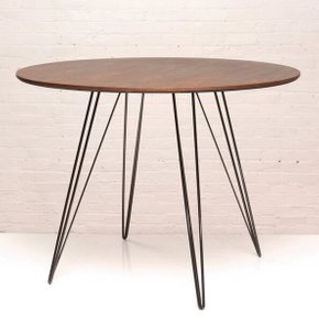 Williams Dining Table Round Small Walnut And Black