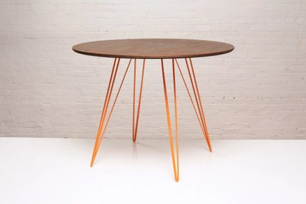 Williams Dining Table Round Small Walnut And Orange