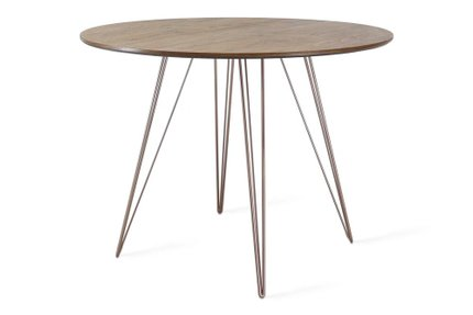 Williams Dining Table Round Small Walnut And Rose Copper