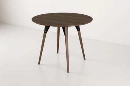 Clarke Dining Table Small Round Walnut And Black
