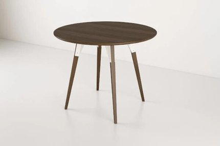 Clarke Dining Table Small Round Walnut And White