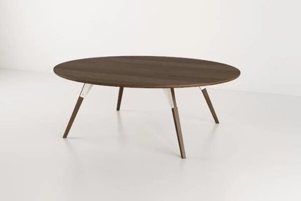 Clarke Coffee Table Large Oval White And Walnut
