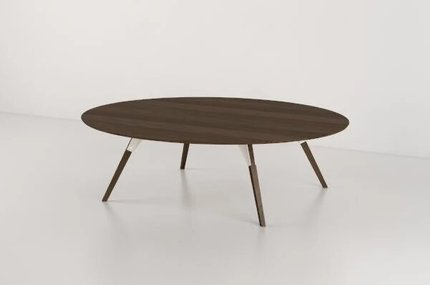 Clarke Coffee Table Small Oval White And Walnut