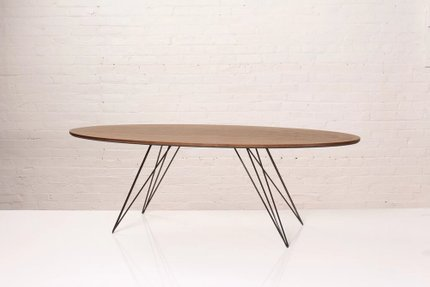 Williams Coffee Table Thin Oval Walnut And Black