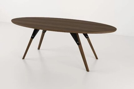Clarke Coffee Table Thin Oval Black And Walnut