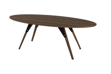 Clarke Coffee Table Thin Oval Black And Walnut
