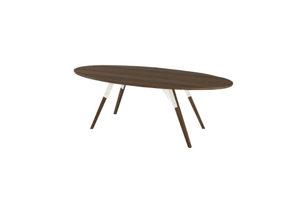 Clarke Coffee Table Thin Oval White And Walnut