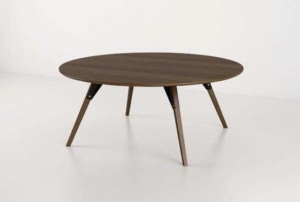 Clarke Coffee Table Large Circle Black And Walnut
