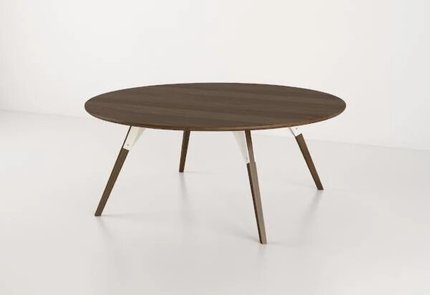 Clarke Coffee Table Large Circle White And Walnut
