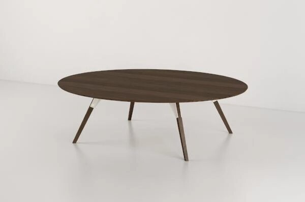 Clarke Coffee Table Small Circle White And Walnut