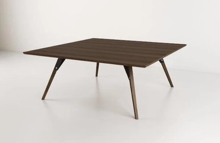 Clarke Coffee Table Large Square Black And Walnut