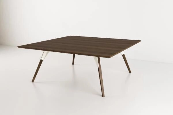 Clarke Coffee Table Large Square White And Walnut