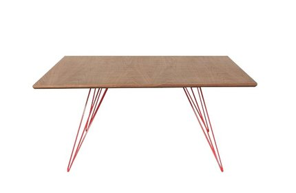 Williams Coffee Table Small Square Walnut And Red