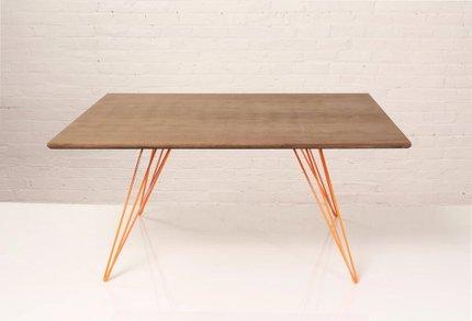 Williams Coffee Table Small Square Walnut And Orange