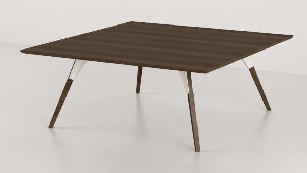 Clarke Coffee Table Small Square White And Walnut