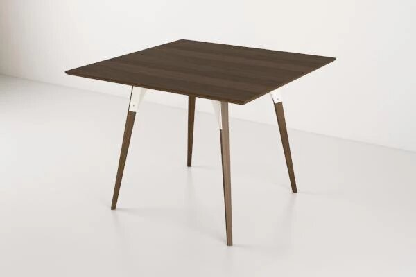 Clarke Dining Table Small Square Walnut And White
