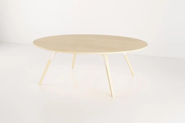 Clarke Coffee Table Large Oval White And Maple