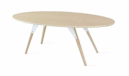 Clarke Coffee Table Thin Oval White And Maple