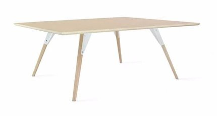 Clarke Coffee Table Small Square White And Maple