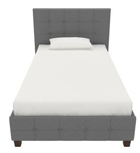Hartland Upholstered Platform Twin Bed Dark Gray