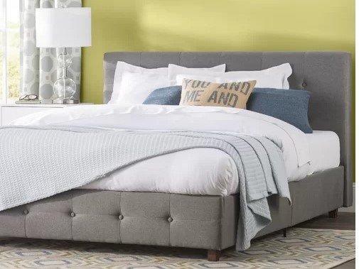 Heartland Upholstered Platform Twin Bed Gray