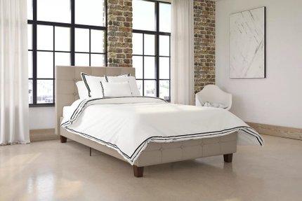 Hartland Upholstered Platform Queen Bed Tan