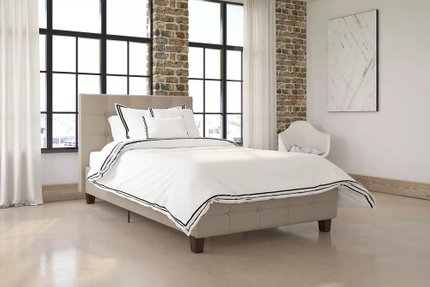 Hartland Upholstered Platform Twin Bed Tan