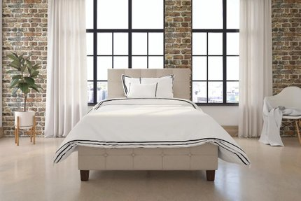 Hartland Upholstered Platform Twin Bed Tan
