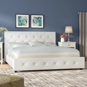 Jabo Upholstered Platform Queen Bed White