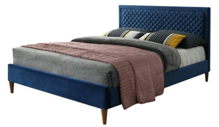 Tiffany Queen Bed Dark Blue Velvet