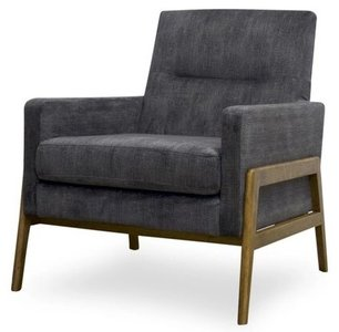 Stella Mid Century Modern Lounge Chair Gray Velvet