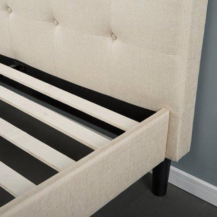 Kirov Upholstered Platform Queen Bed Beige