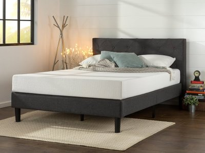 Sidu Upholstered Platform Queen Bed Dark Grey