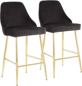 Marcel Counter Stool Gold And Black (Set of 2)