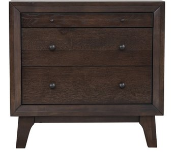 Bingham Retro Modern Nightstand Brown Oak