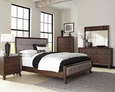 Bingham Retro-Modern Upholstered Eastern King Bed Brown Oak