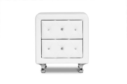 Stella Crystal Tufted Nightstand White